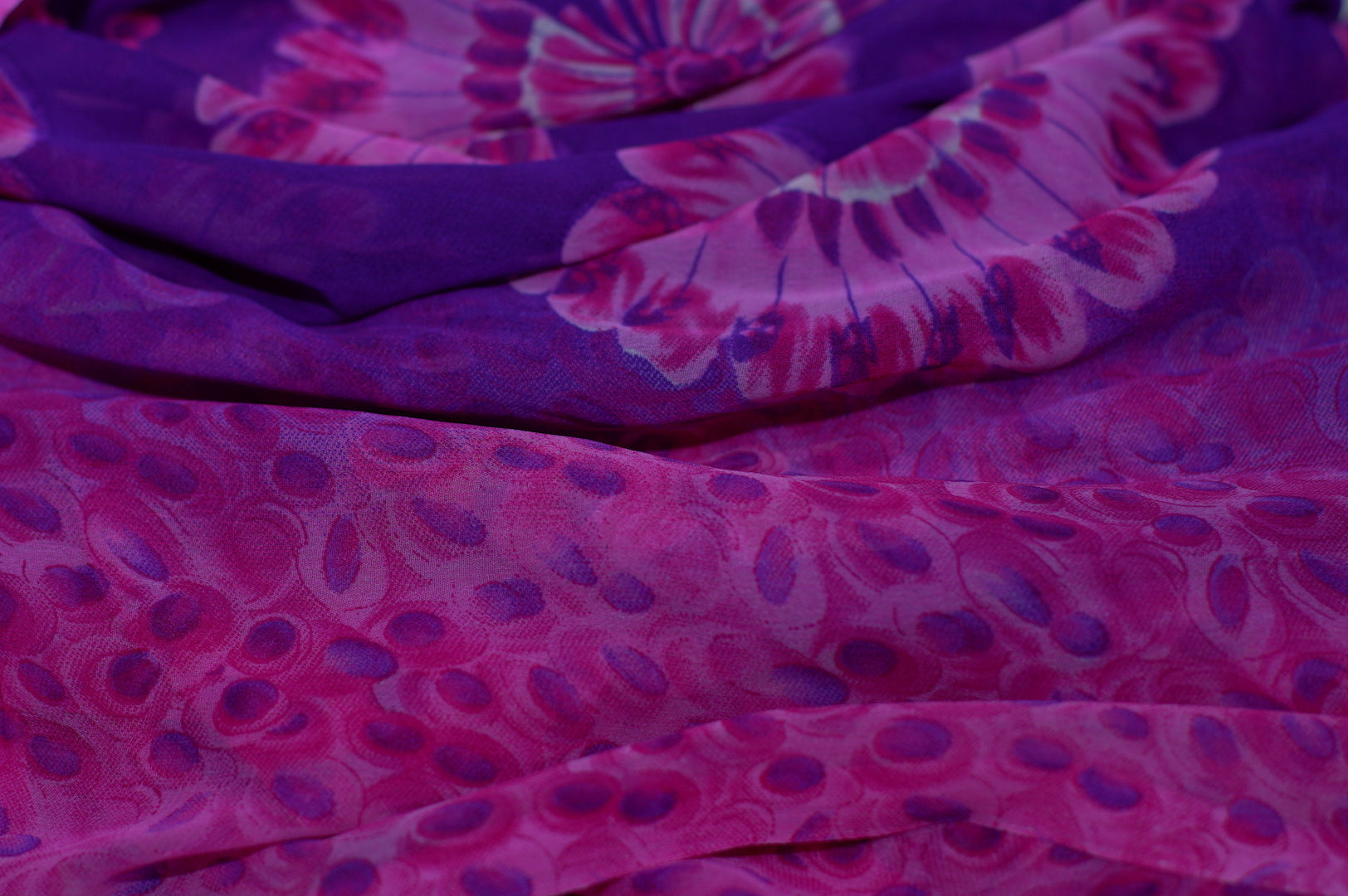 Zxq739 Purple Soft Chiffon With Big Pink Flowers Shoxan