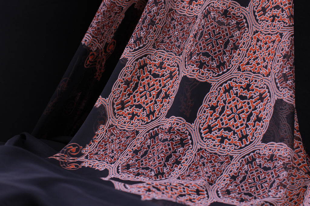CHP040 Orange and White Ledges Black Chiffon