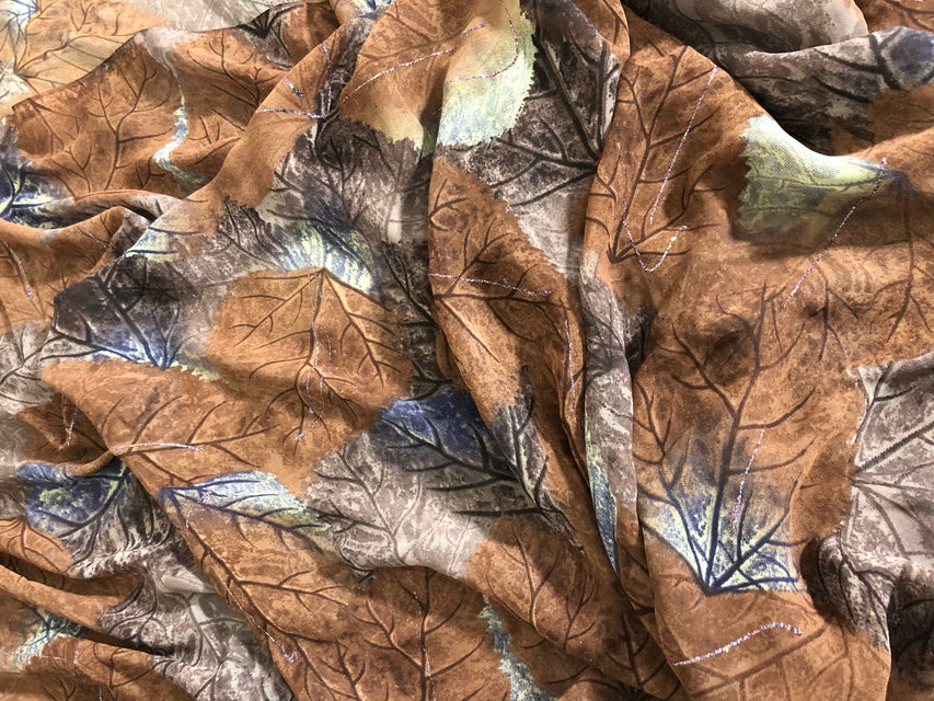 ZXQ853 Multi-colored Brown Chiffon with brown and henna glitter leaves