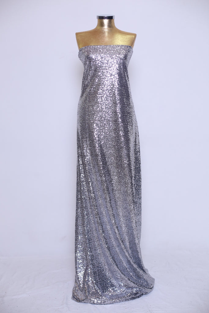 ZXQ524 Silver Sequined Tulle