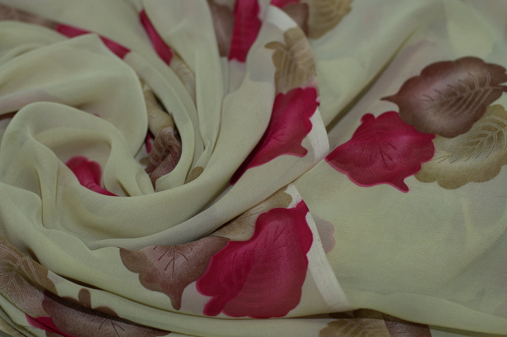 ZXQ702 Soft Beige Chiffon with Brown And Red Leaves
