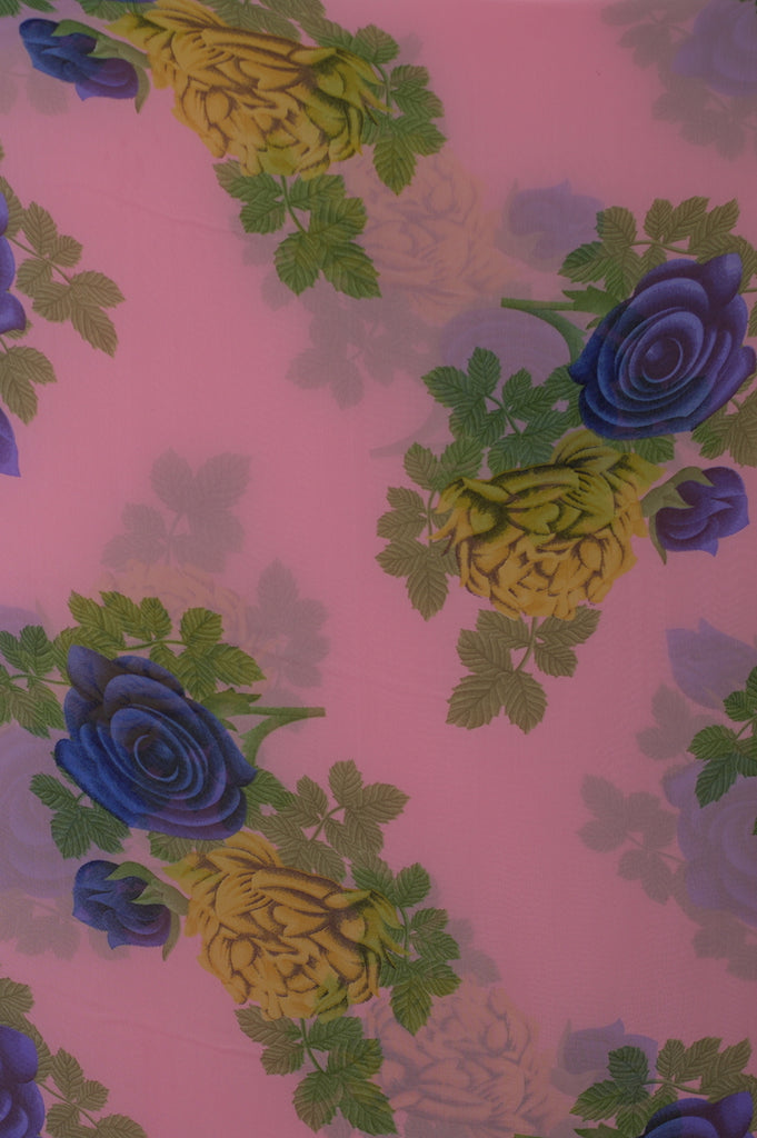 ZXQ710 Soft Pink Chiffon with Yellow And Blue Flowers