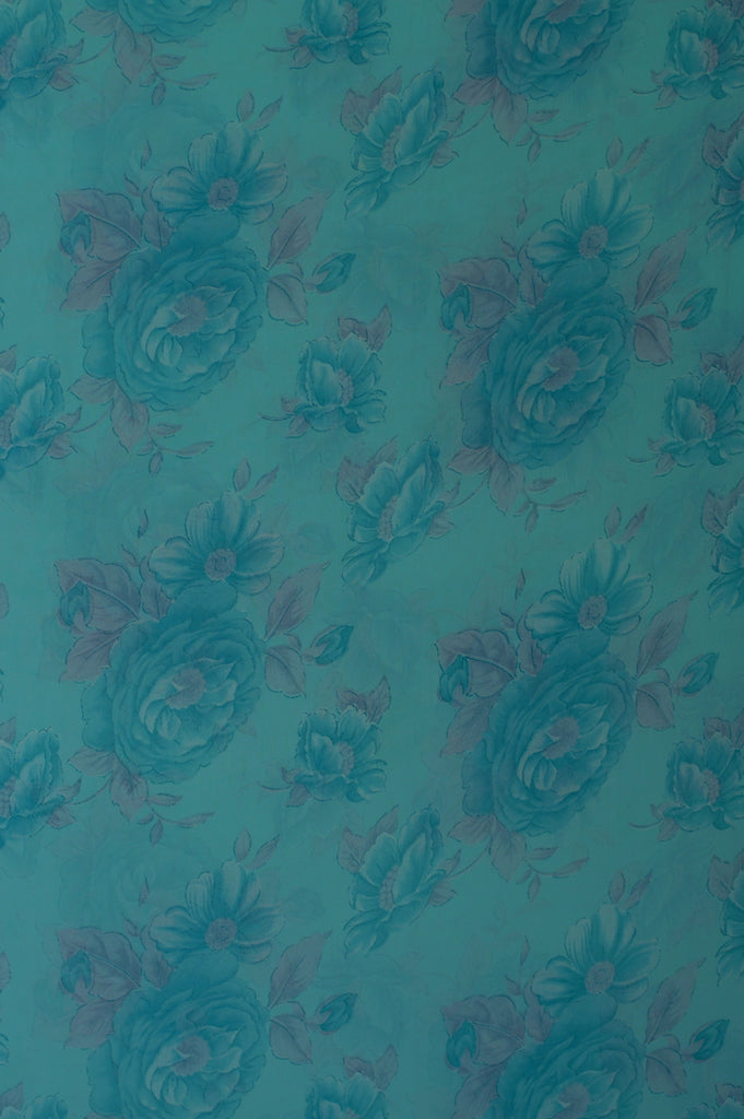 ZXQ720 Soft Light Blue Chiffon with Small Blue and Gray Flowers