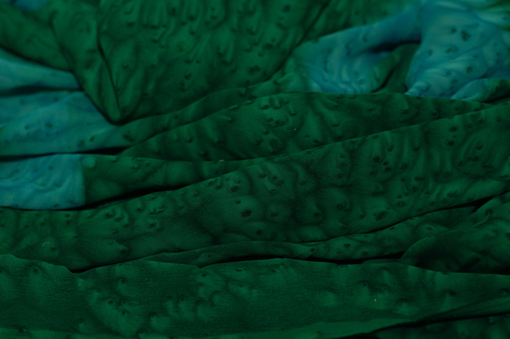 ZXQ728 Soft Green Chiffon with Blue Flowers