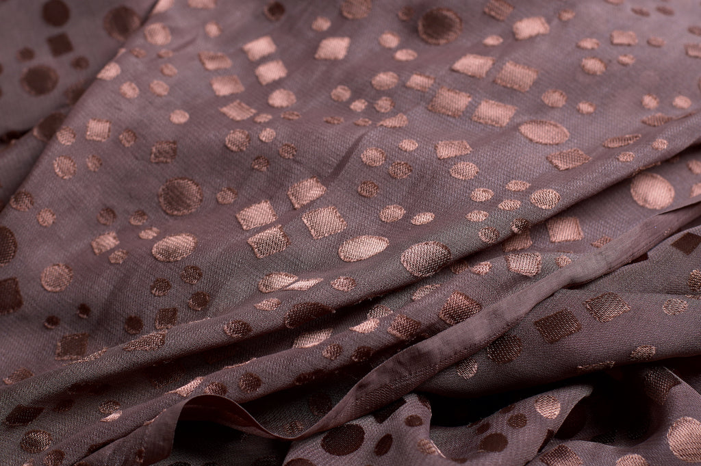 ZXQ771 Satin Dotted Brown Chiffon