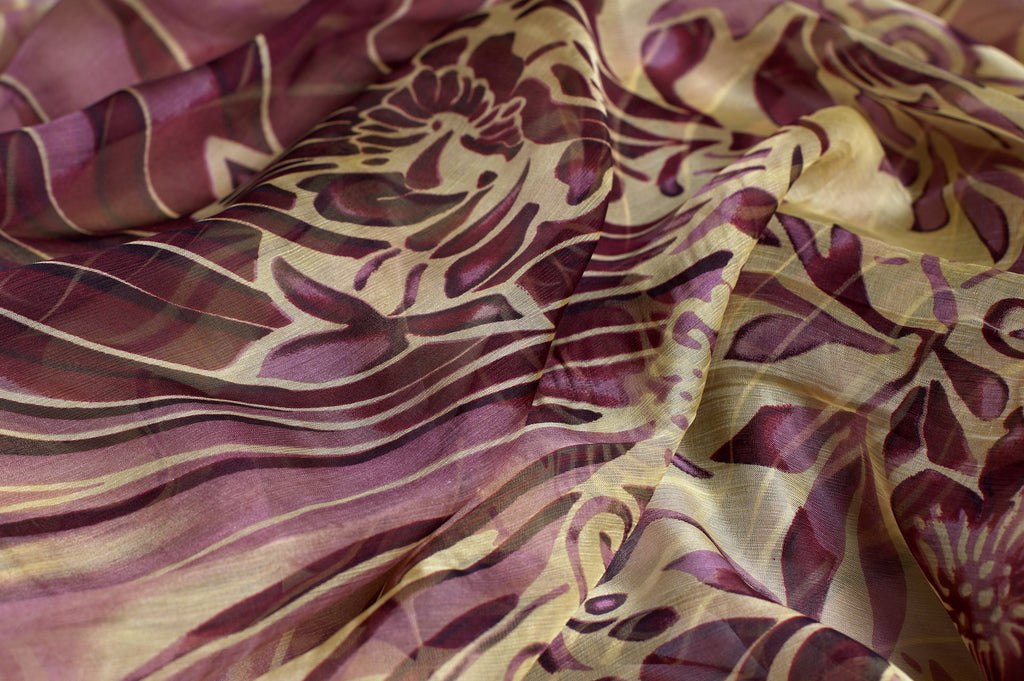 ZXQ785 Yellow Variegated Purple Soft Chiffon