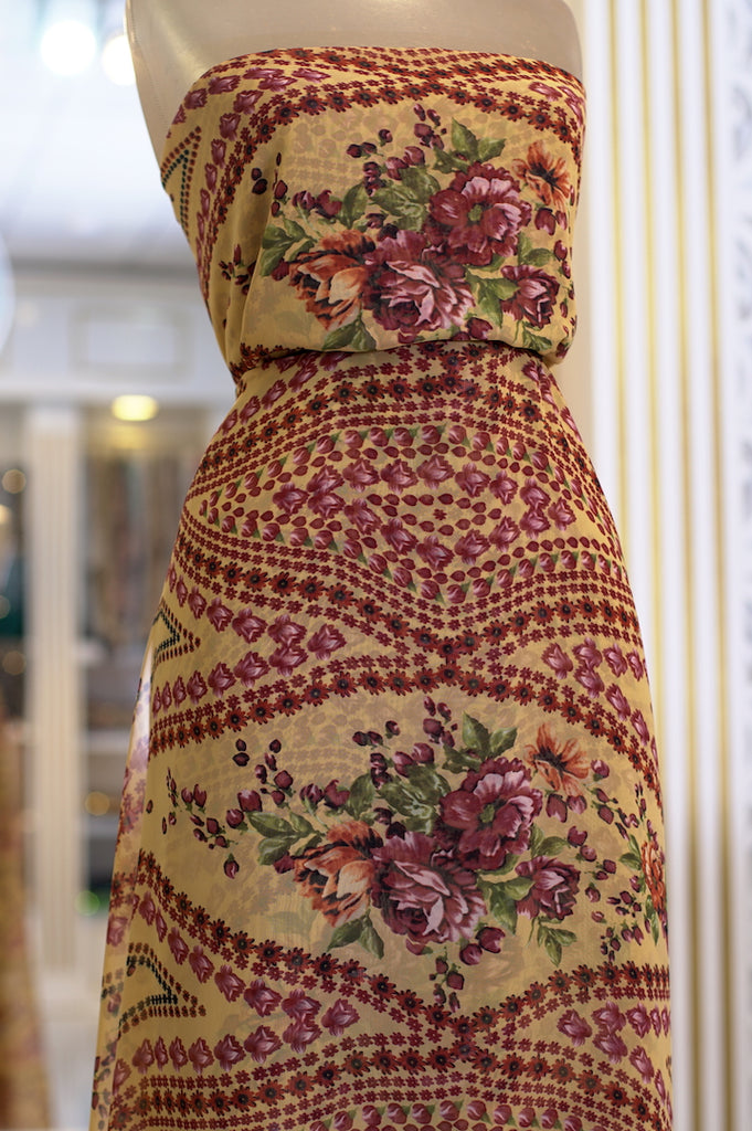ZXQ793 Red Floral Yellow Soft Chiffon