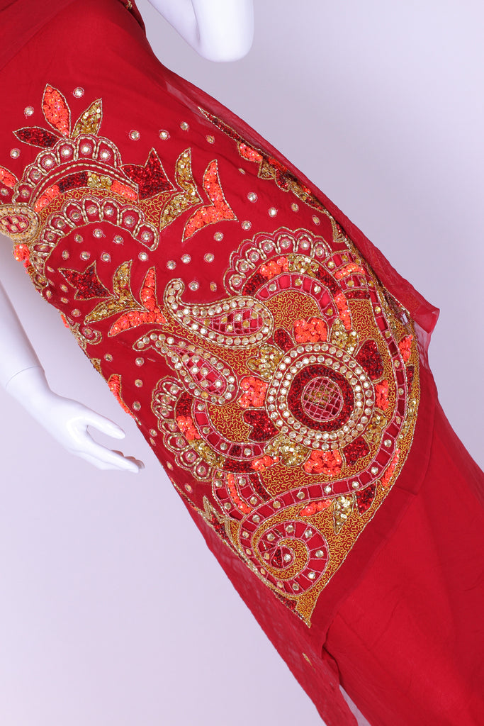 EX228 Heavily Embroidered on red Georgette