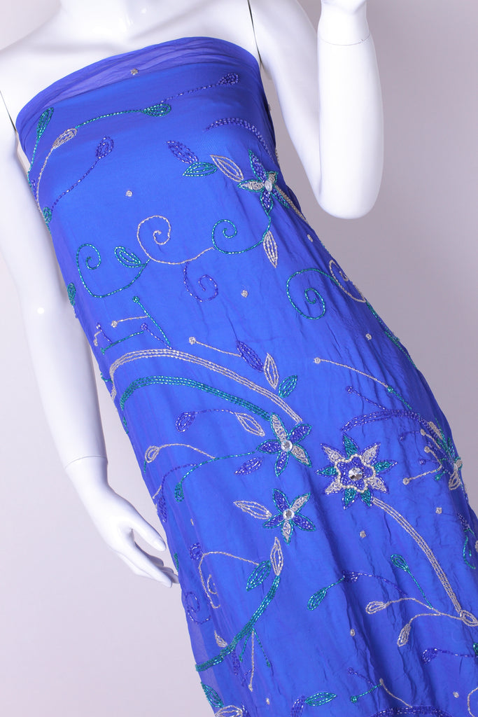 EX225 Blue Floral Beaded  Bugle on Georgette