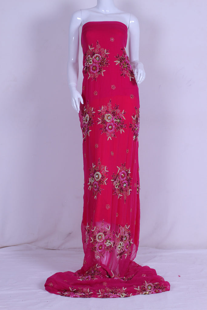 ZXQ320 Embriodered Pink Georgette