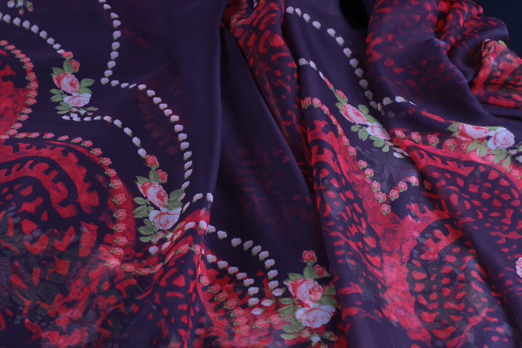 CHFP018 Red Floral print on silk chiffon