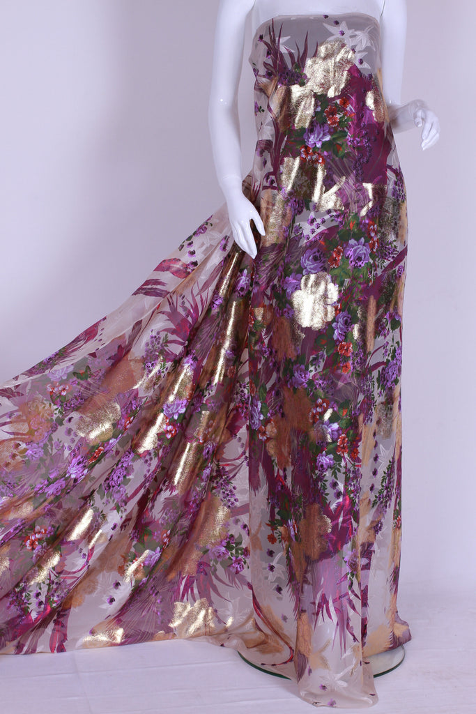 CHGP011 Floral Colored Gold Watered Chiffon
