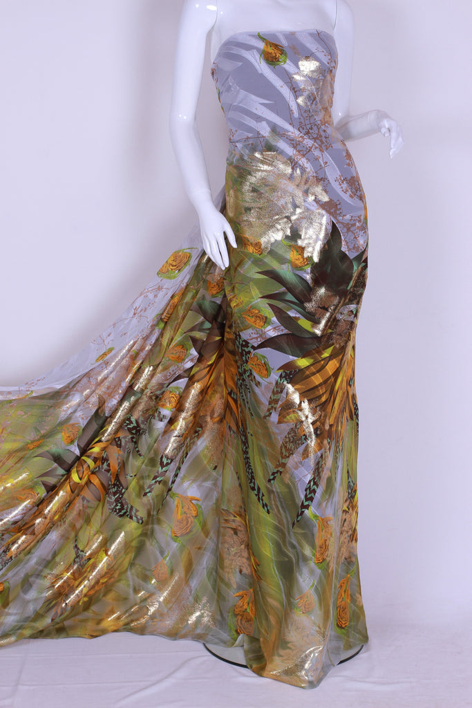 CHGP006 Gold Watered White and Light Green Chiffon