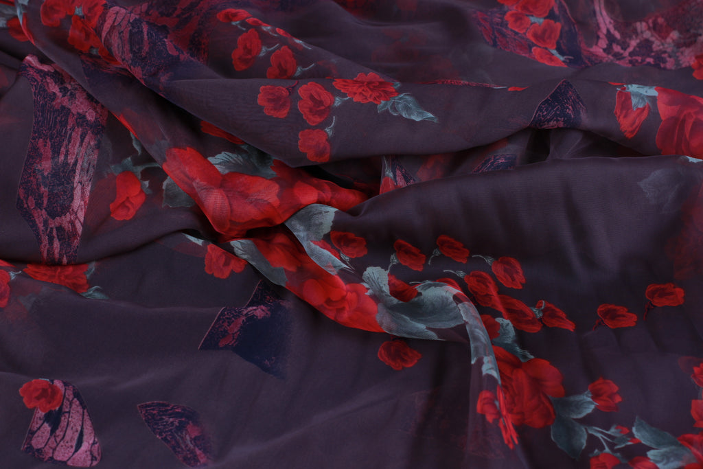 CHFP013 Small Floral Brown Chiffon