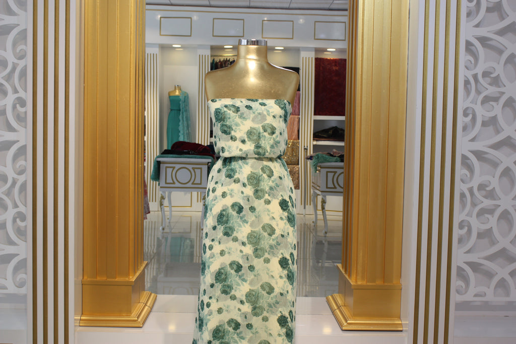 ZXQ724 Soft Light Green Chiffon with Small Turquoise Flowers