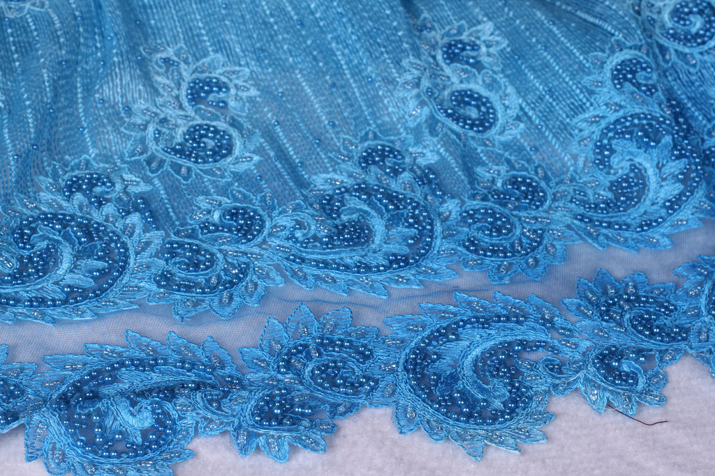 BPG184 Beaded Pearl Blue Tulle and Dentelle