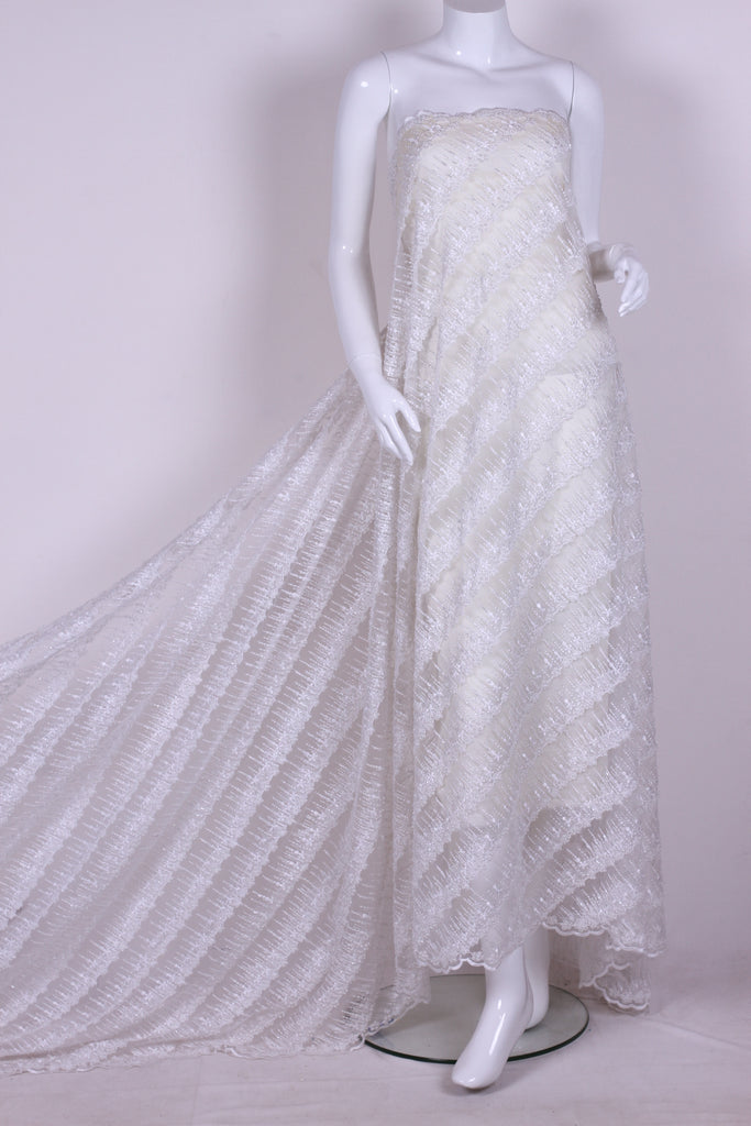 BPG189 String and Pearl Beaded White Tulle
