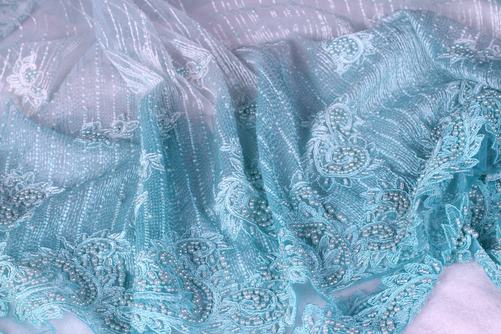 BPG191 Beaded Pearl Light Blue Dentelle and Tulle