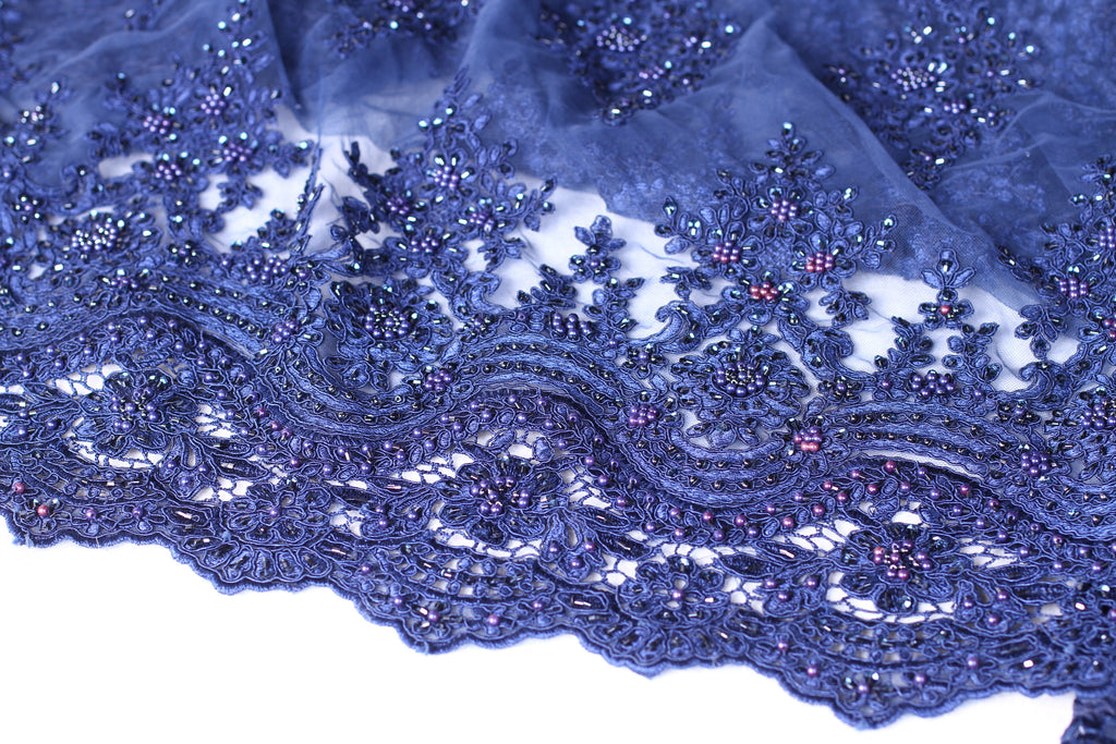 BPG194 Ink Blue Tulle Beaded with Pearls