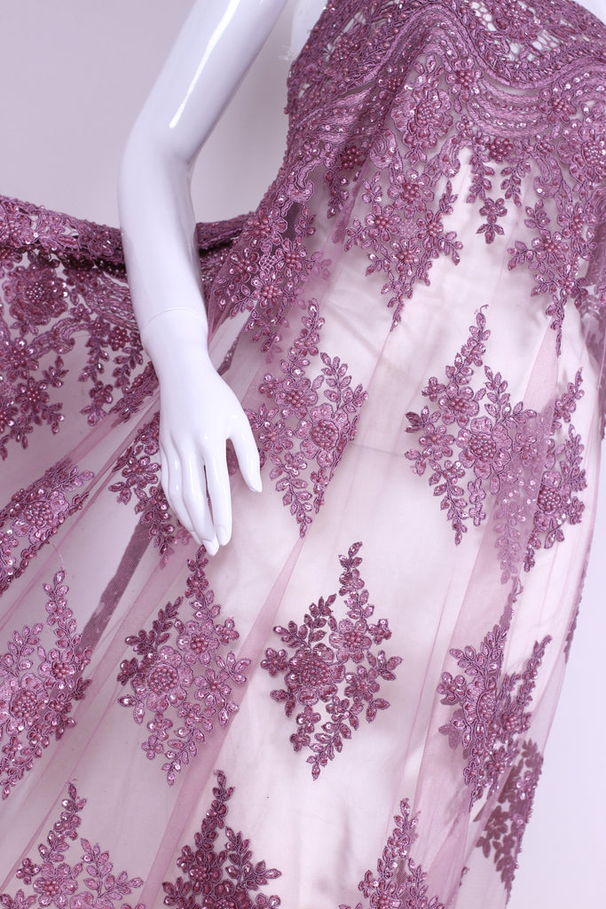 BPG198 String and Pearl Beaded Pink Tulle