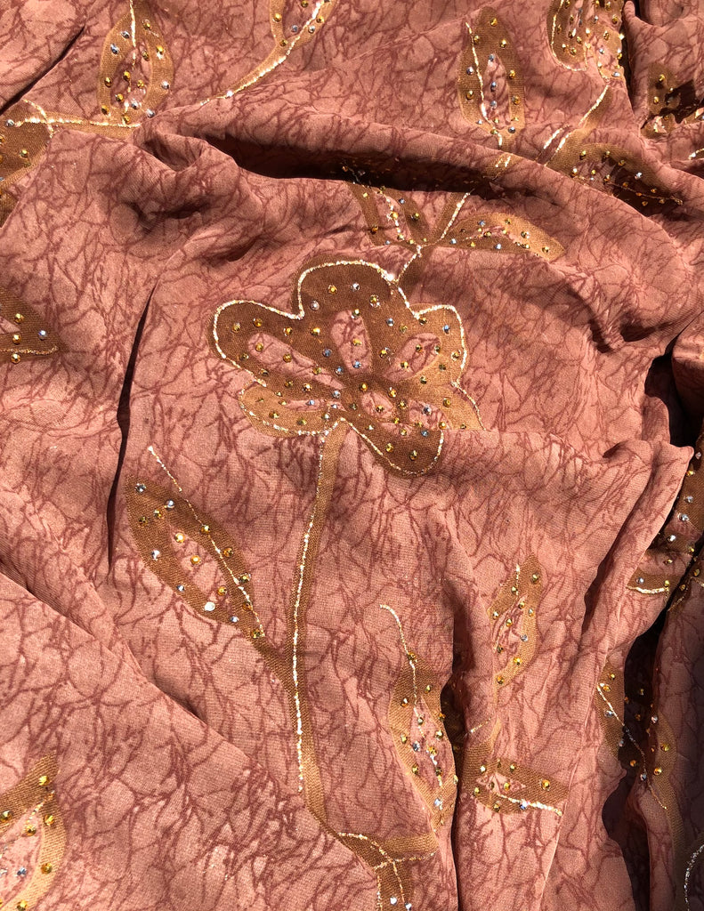 ZXQ842 Floral Henna Georgette with beads on brown flowers