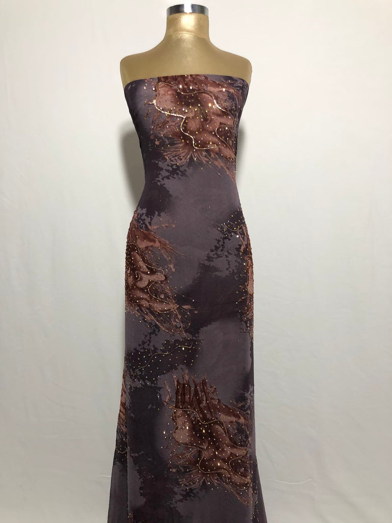 ZXQ848 Multi-colored Purple Georgette with beads on brown patterns