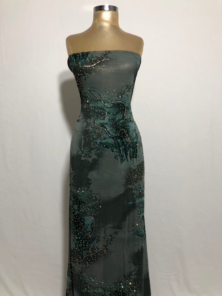 ZXQ849 Multi-colored Green Georgette with beads on green patterns