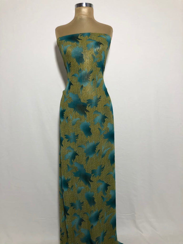 ZXQ857 Yellowish Green Chiffon with Turquoise leaves