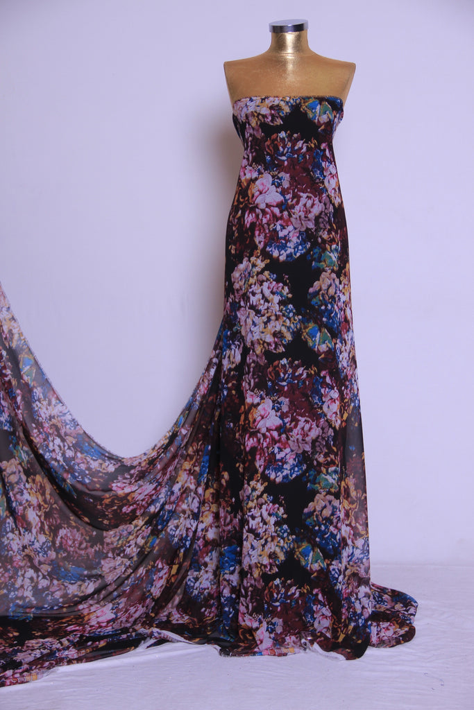 ZXQ539 Multi-colored Floral Chiffon