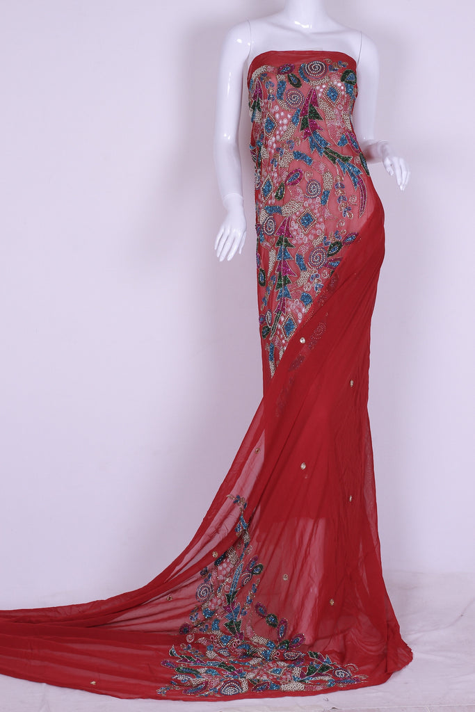 EX224 Classic Red Embellished Georgette