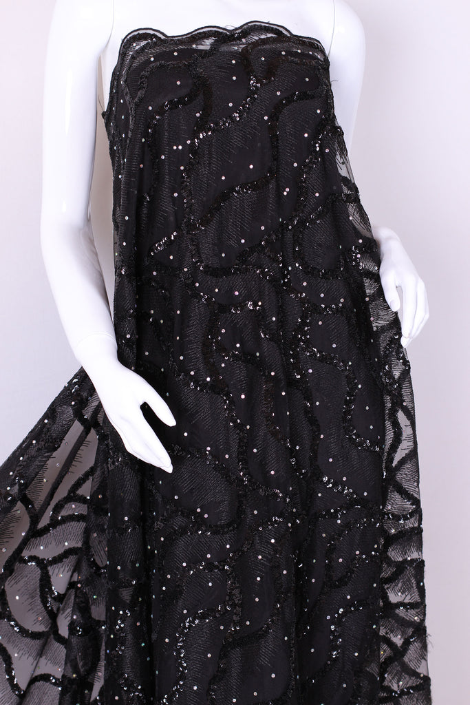 ZXQ253 Black Beaded pearl Tulle