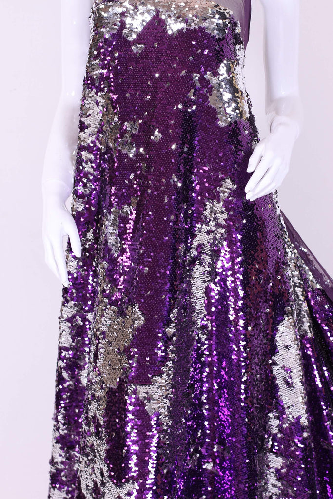ZXQ276 Purple and Steel Sequined Tulle