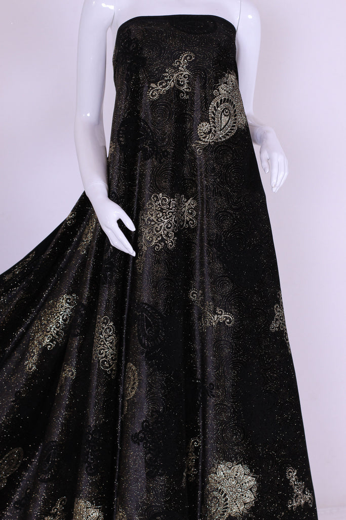ZXQ259 Golden Printed Black Korean Velvet