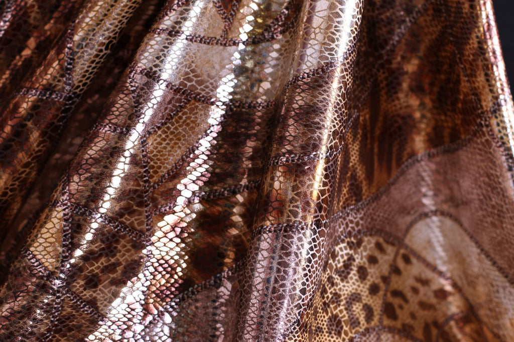ZXQ302 Snake Printed Metalic Brown and Beige Spandex
