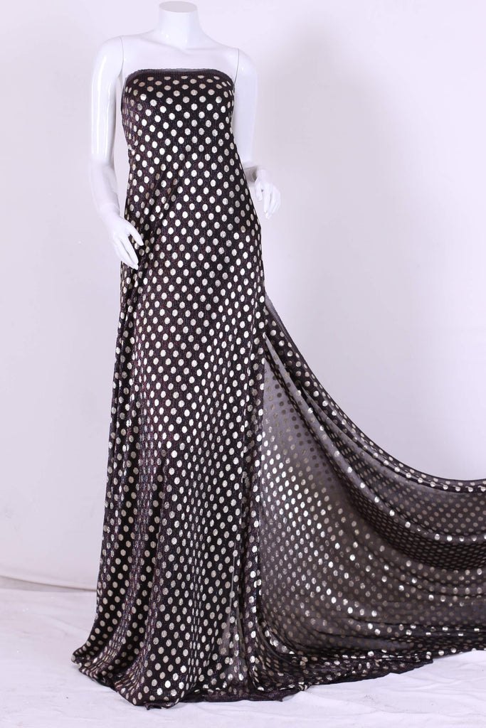 ZXQ311 Small Golden Dotted Stretch Black Tulle