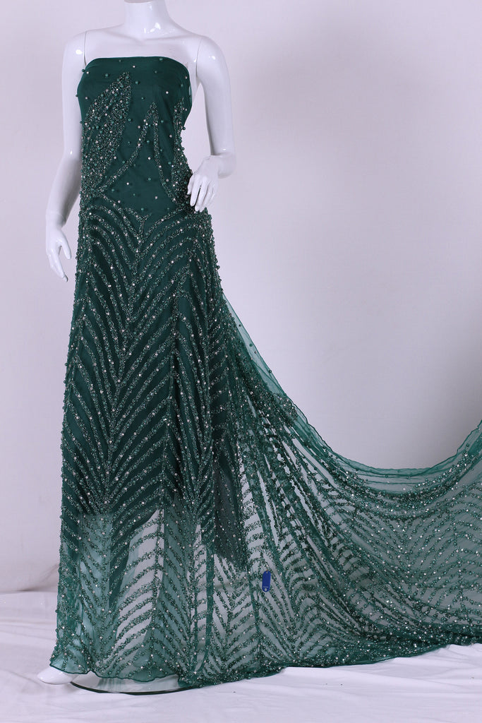 ZXQ340 Green Beaded Tulle