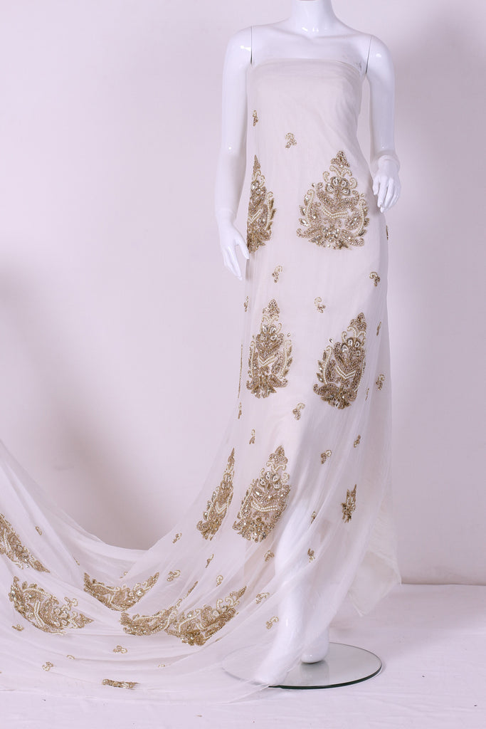 ZXQ336 Embriodered White Georgette