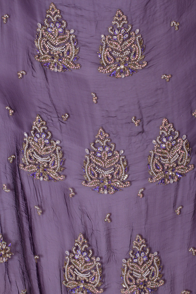 ZXQ330 Embriodered Dark Purple Georgette