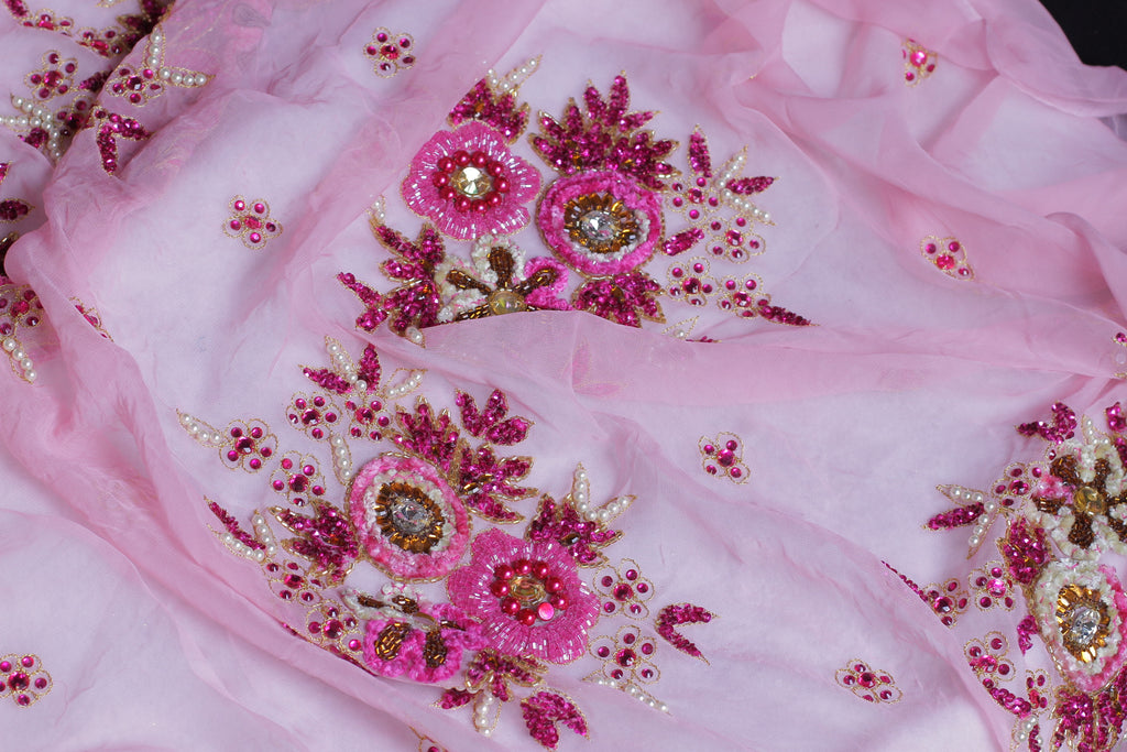 ZXQ318 Embroidered Baby Pink Georgette