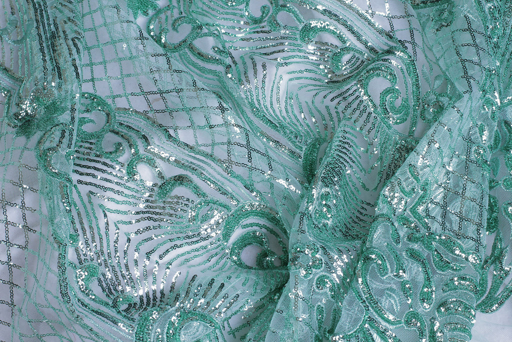 ZXQ353 Green Sequined Tulle