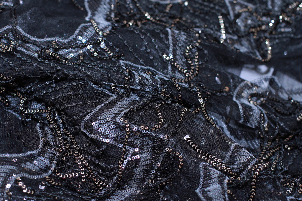 ZXQ606 Sequin-Feathered Black Tulle