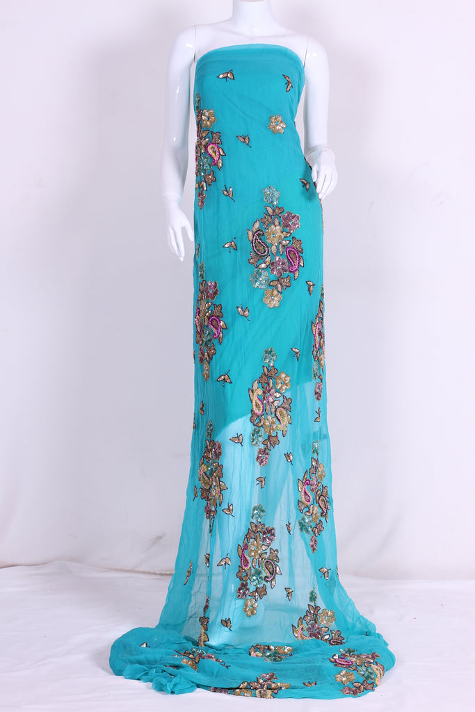 ZXQ328 Embroidered Turquoise Georgette
