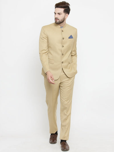 Buy this ethnic, royal beige bandhgala mens suit