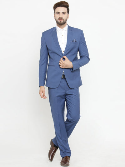 Mens persian blue designer suit