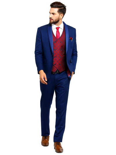 Mens blue suit with maoon waistcoat