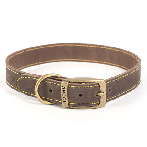 Ancol Timberwolf Sable Leather Dog Collar Size 5