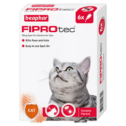 Beaphar FIPROtec Flea & Tick Spot On Treatment for Cats 6 Pipettes