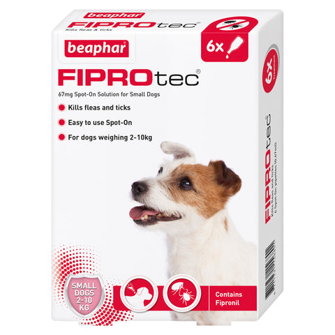 Beaphar FIPROtec Flea & Tick Spot On Treatment for Dogs Small Dog 6 Pipettes