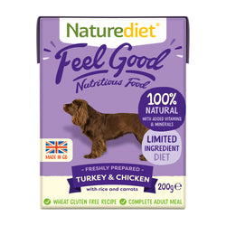 Naturediet Feel Good Turkey & Chicken Wet Adult Dog Food Cartons 200g x 8 Starter Pack