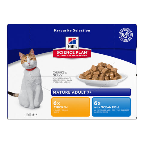 Hills Science Plan Mature 7+ Pouches Wet Cat Food Favourite Selection 85g x 12